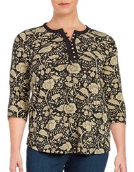 Lucky Brand Plus Three Quarter Sleeve Floral Print Henley Shirt Black Beige
