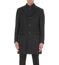 Corneliani Tonal Wool Blend Overcoat Charcoal
