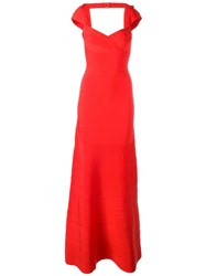Herve Leger Sweetheart Neck Long Dress Red