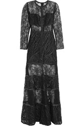 Alexis Joelle Lace And Tulle Maxi Dress Black
