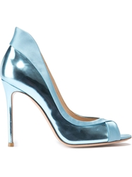 Gianvito Rossi Peep Toe 'Ellipsis' Pump Blue