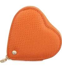 Aspinal Of London Lizard Embossed Leather Heart Coin Purse Orange