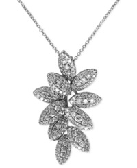 Effy Collection Bouquet By Effy Diamond Pave Leaf Pendant In 14K White Gold 9 10 Ct. T.W.