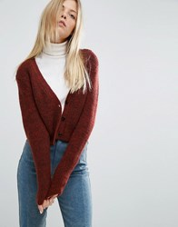 Asos Cropped Cardigan With V Neck Red