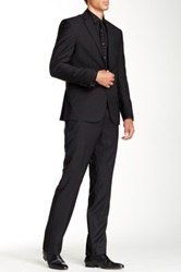 Kenneth Cole Reaction Slim Jim Stripe Two Button Notch Lapel Wool Suit Black