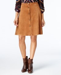 Ny Collection Petite Faux Suede A Line Skirt Almond Camel
