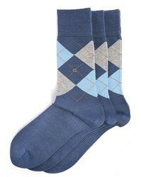 Burlington 3 Pair Pack Of Manchester Blue And Pink Check Socks