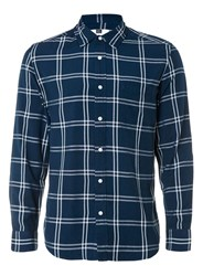 Topman Navy And White Check Viscose Casual Shirt Blue