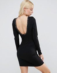 Forever Unique Gwyneth Long Sleeve Scoop Back Mini Dress With Embelishment Black