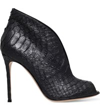 Gianvito Rossi Lombardy Crocodile Embossed Leather Boots Black