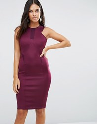 Ax Paris Bodycon Midi Dress With Mesh Insert Plum Purple