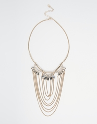 Lipsy Drape Chain And Baguette Stone Necklace Gold