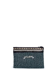 Venna 'Smile' Pearl Star Chain Embellished Boucle Clutch Multi Colour