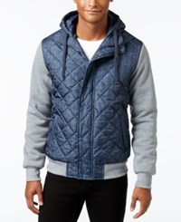 Ring Of Fire Men's Hooded Puffer Coat Blue Print