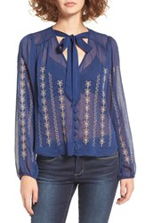 Band Of Gypsies Women's Tie Neck Sheer Blouse Blue