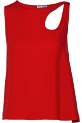 Opening Ceremony Cutout Satin Top Red