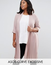 Asos Curve Longline Soft Blazer With Pleated Back Warm Taupe Beige