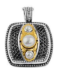 Konstantino Square Black Spinel And Pearl Pendant Enhancer