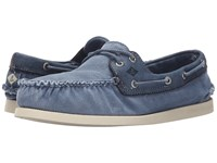 Sperry A O 2 Eye Wedge Canvas Blue Men's Lace Up Casual Shoes