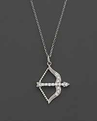 Kc Designs Diamond Bow And Arrow Pendant In 14K White Gold .15 Ct. T.W.