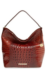 Brahmin 'Harrison Melbourne' Croc Embossed Leather Hobo Pecan