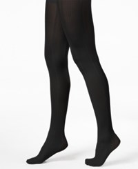 Hue Variegated Stripe Control Top Tights Black