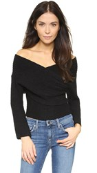 Line And Dot Wrap Sweater Top Black