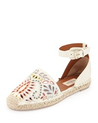 Valentino Floral Embroidered Ankle Wrap Espadrille Ivory