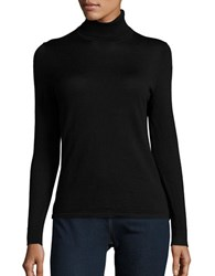 Lord And Taylor Petite Merino Wool Turtleneck Sweater Black