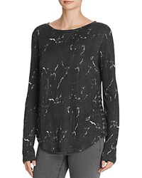 Generation Love Beverly Side Laced Marble Linen Top Black Marble