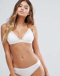 Monki Lace Trim Triangle Bra Almost White