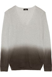 Theory Ombre Cashmere Sweater Light Gray