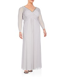 Marina Plus Size Embellished Empire Gown Silver
