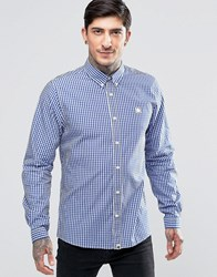 Pretty Green Shirt In Gingham In Blue Navy
