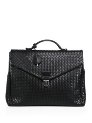 Bottega Veneta Woven Leather Briefcase Dark Brown Black