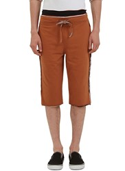 Telfar Raw Layered Stripe Shorts Brown