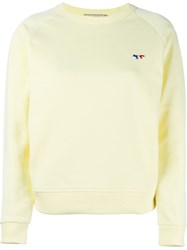 Maison Kitsune Tricolor Fox Patch Sweatshirt Yellow And Orange