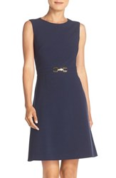 Tahari Petite Women's Bi Stretch A Line Dress Dark Navy