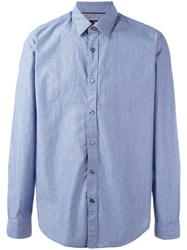 Hugo Boss Patterned Long Sleeve Shirt Blue