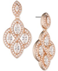Anne Klein Rose Gold Tone Marquise Crystal And Pave Chandelier Earrings