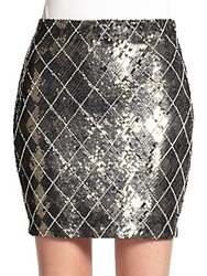 Haute Hippie Sequined Check Miniskirt Dark Graphite
