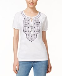 Jm Collection Embroidered Short Sleeve Peasant Top Only At Macy's White Intrepid Blue