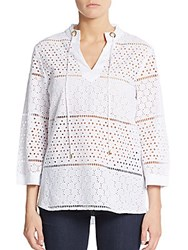 August Silk Eyelet Lace Front Blouse White