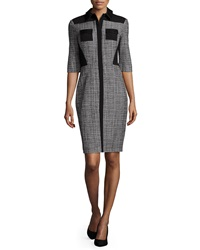 Prabal Gurung Half Sleeve Fitted Shirtdress Black White