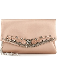 Giorgio Armani Embellished Clutch Pink And Purple
