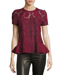 Romeo And Juliet Couture Short Sleeve Sheer Lace Peplum Top Burgundy