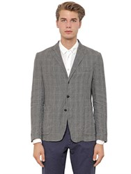 Barena Washed Linen Prince Of Wales Jacket