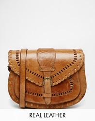 Warehouse Cross Body Bag With Stitching Detail Tan