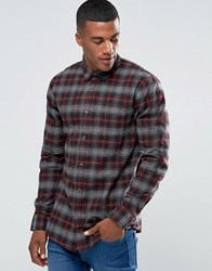 New Look Check Shirt In Burgundy In Regular Fit Burgundy Red