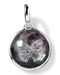 Ippolita Sterling Silver Butterfly Intaglio Charm Black Shell Doublet